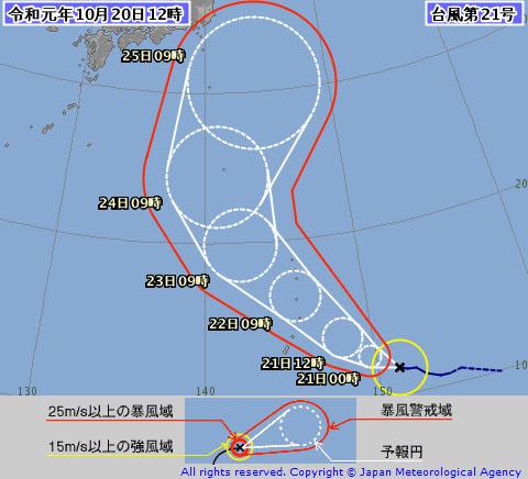 台風21の進路・気象庁210/20